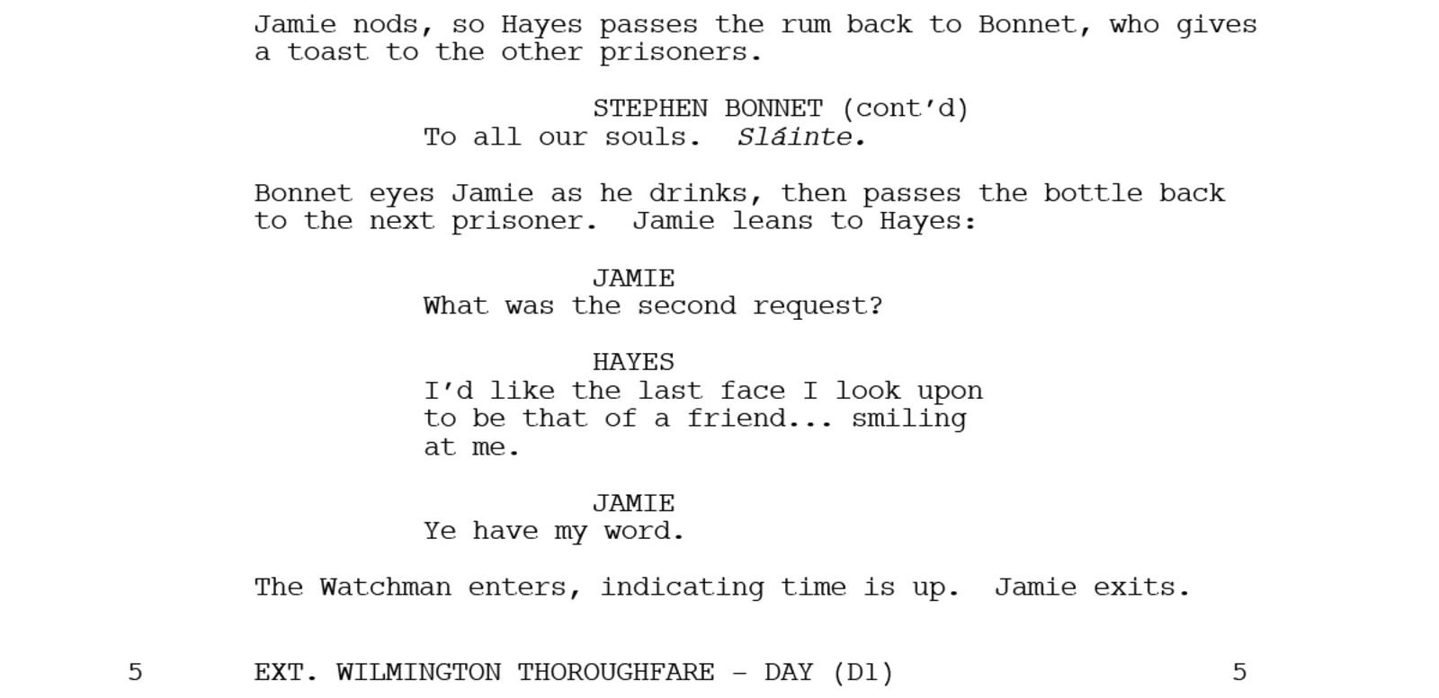 Part of the outlander script